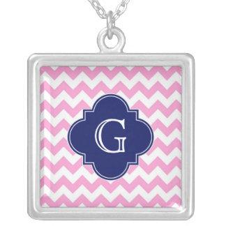 Pink White Chevron Zigzag Navy Quatrefoil Monogram Square Pendant Necklace