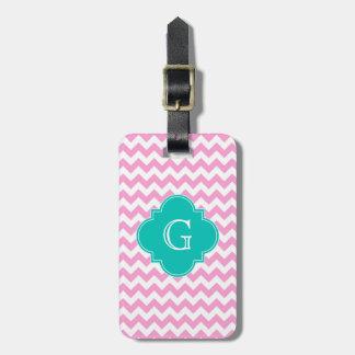 Pink White Chevron Zigzag Teal Quatrefoil Monogram Luggage Tag