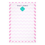 Pink White Chevron Zigzag Teal Quatrefoil Monogram Personalised Stationery