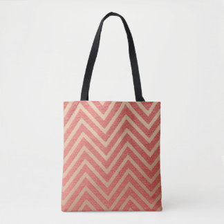 pink & White Chevrons Tote Bag
