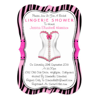 "Pink & White Corset On Zebra Print Lingerie Shower 5"" X 7"" Invitation Card"