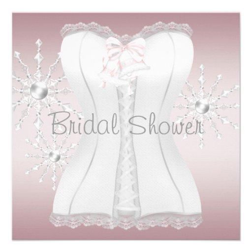 Pink White Corset Snowflakes Bridal Shower Announcements