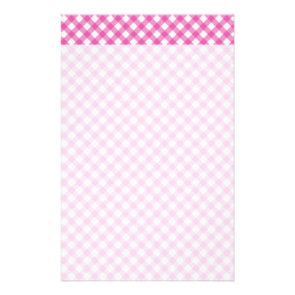 Pink White Criss Cross Diamond Argyle Pattern Gift Customized Stationery