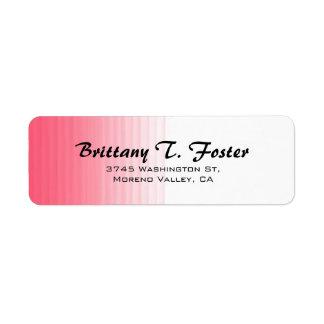 Pink White Curve Brush Script Elegant Minimalist Return Address Label