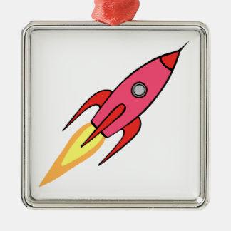 Pink & White Cute Retro Rocketship Cartoon Design Silver-Colored Square Decoration
