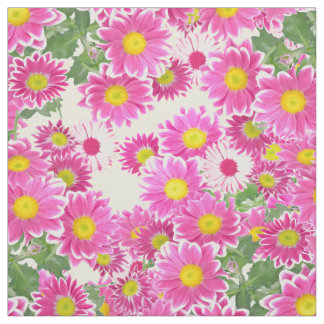 Pink white daisies floral polka dots pattern fabric