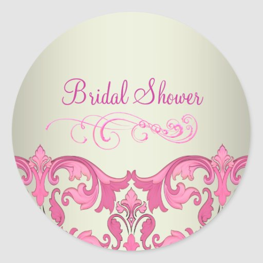 Pink & White Damask Bridal Shower Envelope Sticker