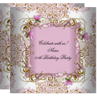 Pink White Damask Gold Flowers Birthday Party Card