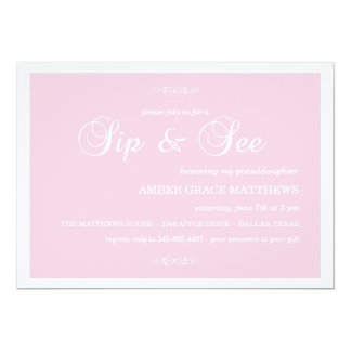 Pink & White Damask Sip And See Invitation