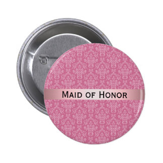 Pink & White Damask with Badge Maid of Honor