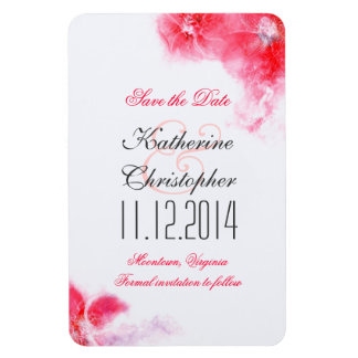 pink white elegant save the date magnets