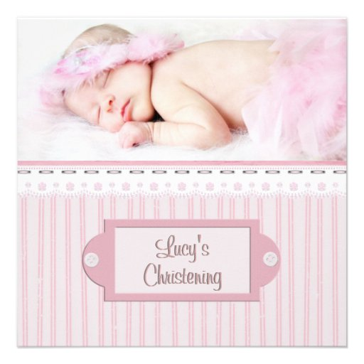 Pink White Eyelet Girl Photo Baptism Christening Custom Invite