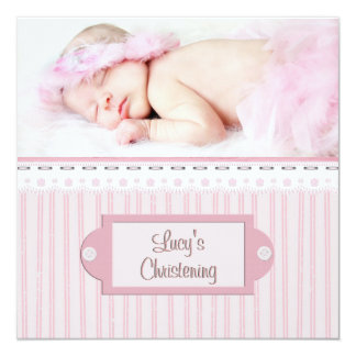 Pink White Eyelet Girl Photo Baptism Christening 5.25x5.25 Square Paper Invitation Card