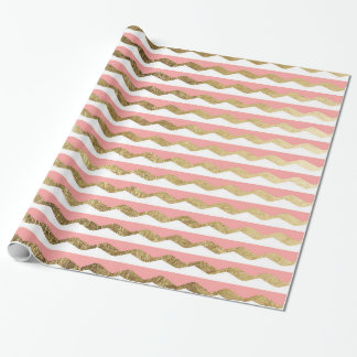 Pink, White, & Faux Gold Zigzag Stripes Wrapping Paper