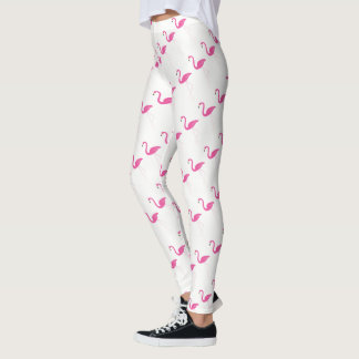Pink & White Flamingo Leggings
