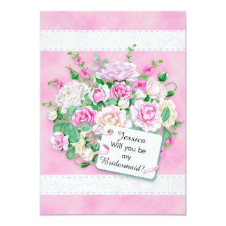 Pink White Floral Bouquet Bridesmaid Invitation