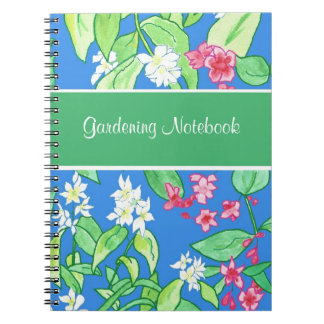 Pink, White Floral Customisable Gardening Notebook