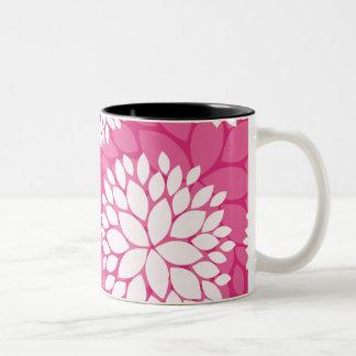 Pink White Floral Pattern Mug