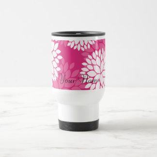 Pink White Floral Pattern Coffee Mugs