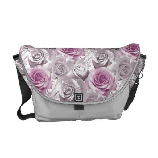 Pink White Floral pattern Rickshaw Messenger Bag
