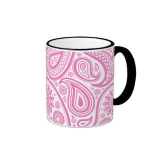 Pink White Floral Pattern Ringer Mug