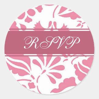 Pink & White Floral RSVP Envelope Seals Round Sticker