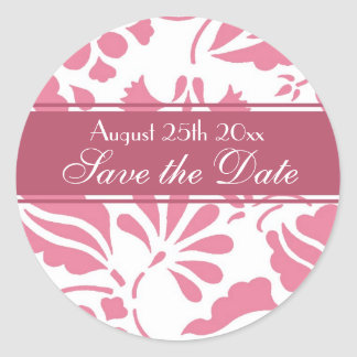 Pink & White Floral Save the Date Envelope Seal Round Sticker
