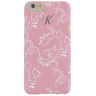Pink White Floral Swirl Monogram iphone Case