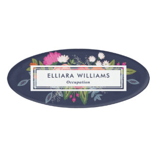 Pink & White Florals Navy Blue Name Tag