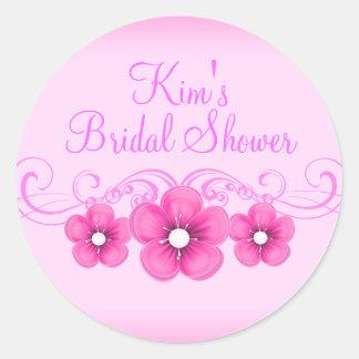 Pink & White Flower Bridal Shower Sticker