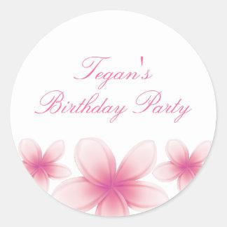 Pink & White Frangipani Envelope Sticker