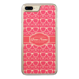 Pink & White Geek Nerd Glasses Carved iPhone 7 Plus Case