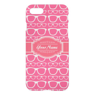 Pink & White Geek Nerd Glasses Personalized iPhone 7 Case