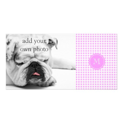 Pink White Gingham Pattern, Your Monogram Photo Card Template