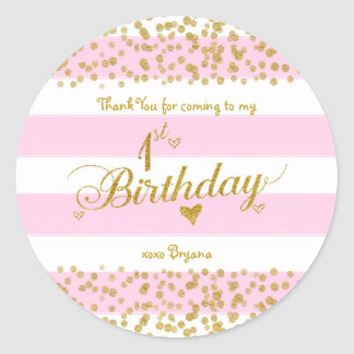 Pink White & Gold 1ST BIRTHDAY Party Girl Stickers