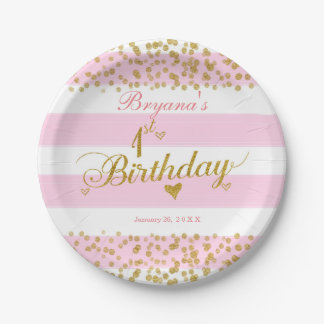Pink White & Gold 1ST BIRTHDAY Party Paper Plates