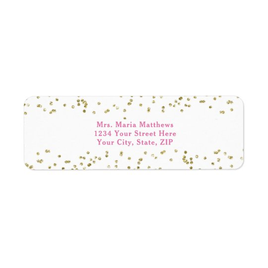 Pink White Gold Confetti Girl Baby Shower Return Address Label