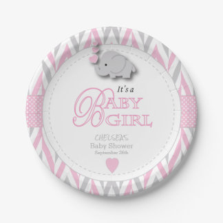 Pink, White Gray Elephant Baby Shower 2 Paper Plate