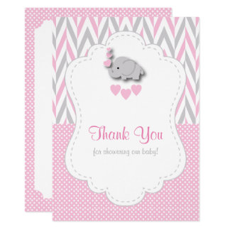 Pink, White Gray Elephant Thank You 2 Card