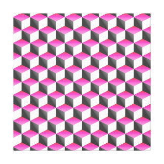 Pink White Gray Shaded 3D Look Cubes Canvas Print