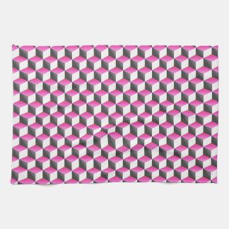 Pink White Gray Shaded 3D Look Cubes Towels