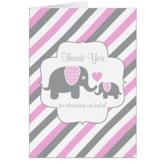 Pink, White Gray Stripe Elephant  Thank You Card