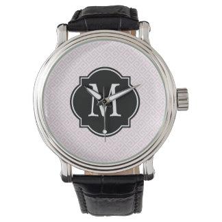 Pink & White Greek Key Pattern Wristwatch