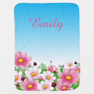 Pink White Green Blue Flower Floral Blossoms Girls Baby Blanket