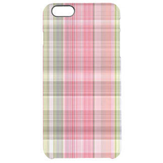 Pink White Green Retro Chic Tartan Plaid Pattern Clear iPhone 6 Plus Case