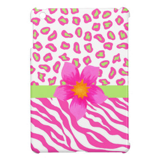 Pink, White & Green Zebra & Cheetah & Pink Flower iPad Mini Cover