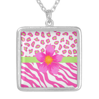 Pink, White & Green Zebra & Cheetah & Pink Flower Square Pendant Necklace