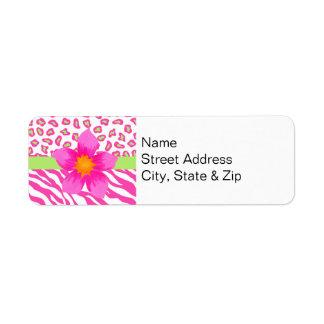 Pink, White & Green Zebra & Cheetah & Pink Flower Return Address Label