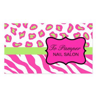 Pink, White & Green Zebra & Cheetah Skin Custom Pack Of Standard Business Cards