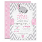 Pink, White Grey Elephant Baby Shower Card